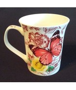 BUTTERFLY Design MUG Orange Butterflies with Yellow Rose Flowers China NEW - $9.99