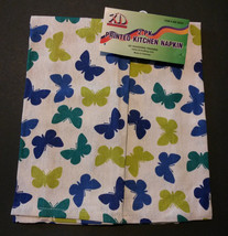 BUTTERFLY TEA TOWELS Set of 2 Blue Green Butterflies Kitchen Towel NEW - $7.99