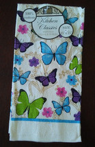 BUTTERFLY theme KITCHEN TOWEL with Blue Trim Flowers NEW - $4.99