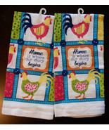 SPRING ROOSTER KITCHEN TOWELS set of 2 Blue Checked Home Sayings Chicken... - $7.99