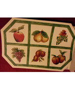 FRUIT Design PLACEMATS Set of 2 Vinyl Octagon Apple Grapes Pear Green Ch... - $7.99