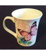 BUTTERFLY Design MUG Pink Butterflies with Blue Rose Flowers China NEW - $9.99