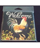 "STONEWARE COASTERS Set of 2 Welcome Rooster Sunflowers Country 4"" NEW - $8.99"