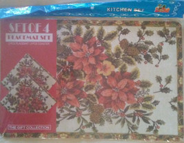 PLASTIC PLACEMATS COASTERS 4pc Set Holly Poinsettia Leaves Flowers Red G... - $9.99