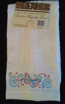 EMBROIDERED FINGERTIP TOWEL White with Blue Pink Butterfly Border Hand Towel NEW - $5.99