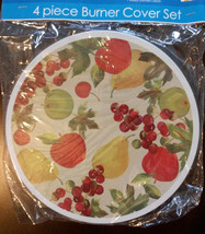 FRUIT theme BURNER COVERS Set of 4 Electric Stove Cherry Apple NEW - $9.99