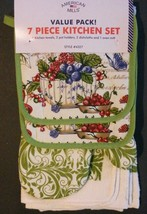 Berry Fruit Kitchen Set 7pc Towels Potholders Oven Mitt Cloths Berries Green New - $13.99