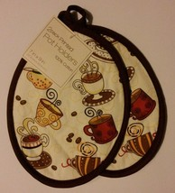 COFFEE theme POTHOLDERS Set of 2 Coffee Cups Tea Espresso Oval Brown NEW - $4.99