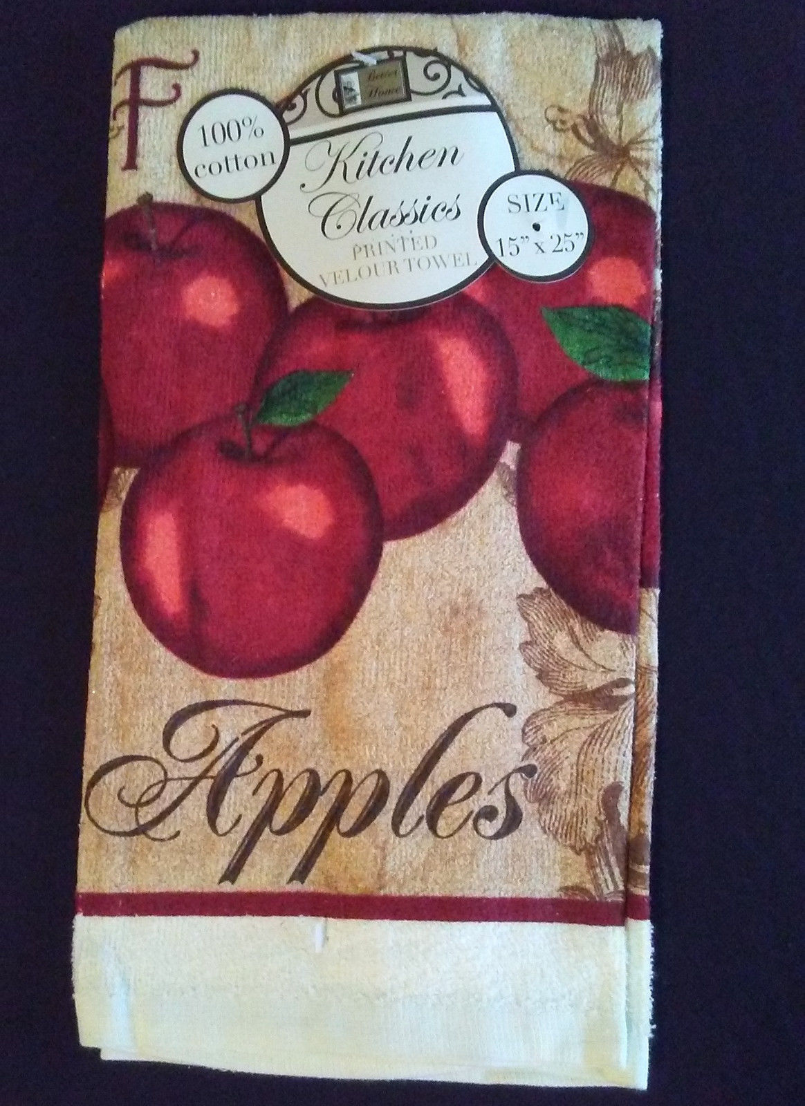 APPLE theme KITCHEN TOWEL Red Fresh Apples Fruit Orchard Cotton NEW