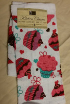 CUPCAKE KITCHEN DISH CLOTH TOWELS Set Of 2 Cakes Hearts Pink White NEW - $3.99