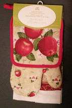 APPLE KITCHEN SET 3-pc Towel Potholder Mitt Red Country Fruit Flowers NEW - $10.99