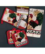 RUSTIC ROOSTER KITCHEN SET 5 Piece Towels Potholders Mitt Red NEW - $13.99