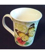 BUTTERFLY Design MUG Yellow Butterflies with Pink Rose Flowers China NEW - $9.99