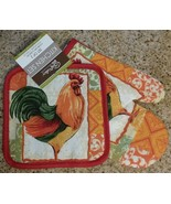 ROOSTER OVEN MITT SET 2 Piece Potholder Red French Country Kitchen NEW - $6.99