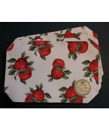 APPLE FABRIC PLACEMATS Set of 4 Red Apples 12x18 Fruit Linen Look NEW - $14.99