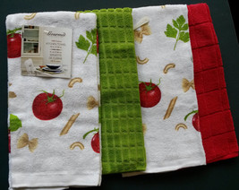 TOMATO PASTA design KITCHEN TOWELS Set of 4 Red Green Herbs NEW - $12.99