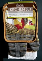 COUNTRY ROOSTER KITCHEN SET 5pc Towels Potholders Mitt Gold Yellow Farmh... - $14.99