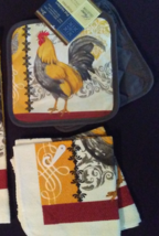 ROOSTER theme KITCHEN SET 4pc Potholders Dish Cloths French Country Grey... - $9.99