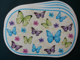 BLUE BUTTERFLY PLACEMATS Set of 4 Vinyl Oval Butterflies Flowers NEW - $12.99