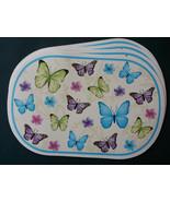 BLUE BUTTERFLY PLACEMATS Set of 4 Vinyl Oval Butterflies Flowers NEW - $12.99
