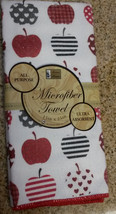 MICROFIBER KITCHEN TOWEL Red Apple Hearts Dish Cloth Fruit NEW - $3.49