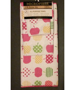 APPLE Microfiber KITCHEN TOWEL SET 3-pc with Drying Mat Pink Trim Hearts... - $10.45