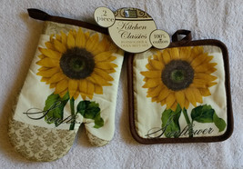 SUNFLOWER OVEN MITT POTHOLDER Set with Small Mitt and Pot Holder Brown T... - $7.99