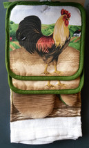 ROOSTER theme KITCHEN SET 5-pc Green Farm Towels Potholders Mitt NEW - $14.99