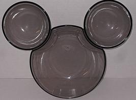 Disney Taiwan Mickey Mouse Chip and Dip Bowl Smoky Gray Plastic - $29.69