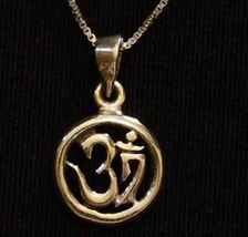 HINDU OM Gold Plated Silver PENDANT Charm Jewelry - $21.05