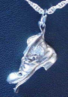 3D Sterling Silver 925 GOOD LUCK SHOE CHARM  Pendant