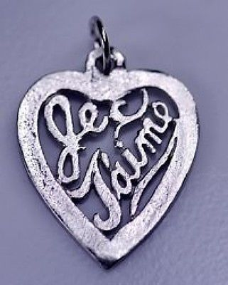 Je t'aime Pendant Charm Silver .925 Jewelry I love you image 1