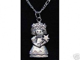 Cartoon Virgo Virgin maiden Sterling silver Pendant Charm Zodiac STAR Astrology - $21.05