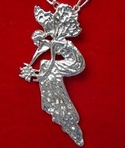 Wicca Celtic Pensive Fairy Silver Pendant Charm Jewelry - $30.63