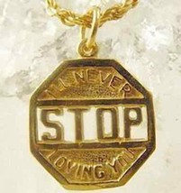 Gold Plated Never Stop Loving You I love sign Charm - $16.30