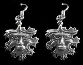 Celtic God of Nature Green man Sterling Silver Earrings - $26.81