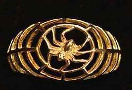 0318 Gold plated Spider Web Ring BLACK WIDOW Gothic - $24.88