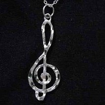 Large Music Note Silver 925 Charm Treble Clef Pendant - $16.30
