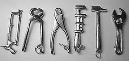 Hand tools pendant set charm Jewelry silver saw hammer - $40.23