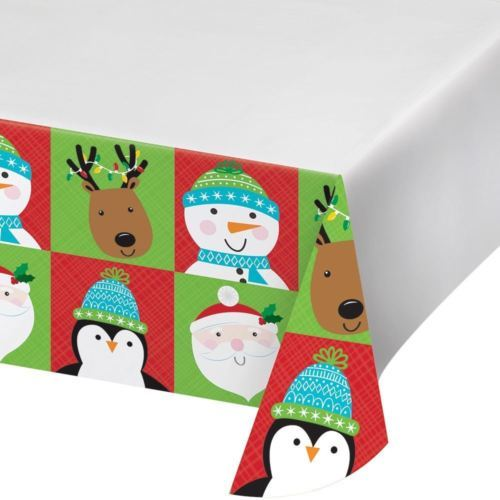 Friends of Santa Christmas Plastic Tablecover 54 x 102