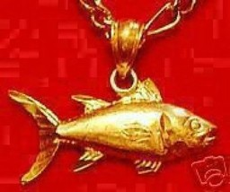 New Gold Plated Salmon Pendant Charm Fish Sea Fishing - $13.41