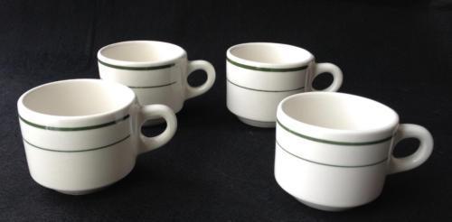 Vintage Buffalo China Co USA 4 Stacking Coffee Mugs / Cups Green Line Border VG