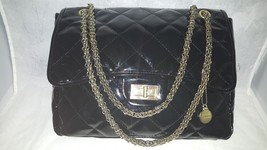 Big Buddha Black Faux Patent Leather Medium Shoulder Chain Strap Bag Han... - $37.36