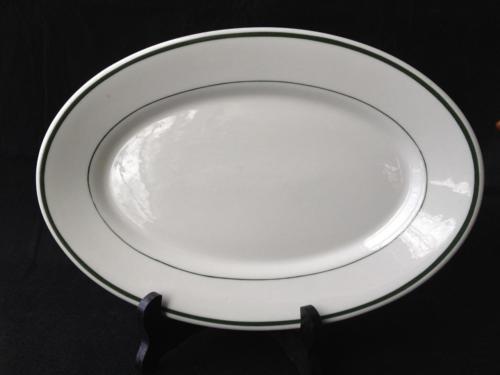 """Vintage McNicol China WV 11 1/2"""" Oval Serving Platter Green Line Border VG"""