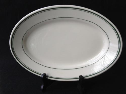 """Vintage Warwick China Wheeling WV 12 1/4"""" Oval Serving Platter Green Line Border"""