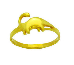 BEAUTY! 24kt Gold plated Sterling Silver brontosaurus dinosaur Ring pick... - $21.99