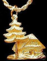 Gold Plated Holiday Cozy Cottage Cabin Lodge Charm Jewelry Pendant chale... - $15.31