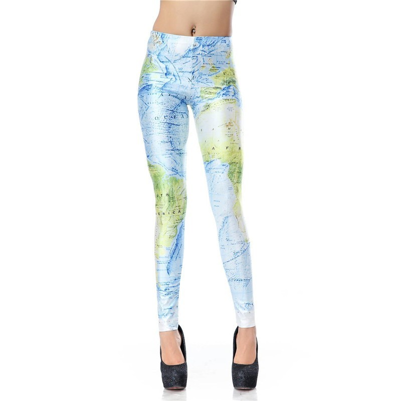 World Map Women's Leggings Yoga Workout Capri Pants