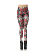 Skull with Red Roses Women's Leggings Yoga Work... - $18.99