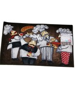 FAT CHEF Theme KITCHEN RUG Mat Four Chefs Wine Pizza Italian NEW - $14.99